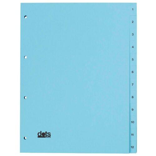 Register A4 1-12 blau 12-teilig Karton Ordner Trennblätter Zahlenregister!
