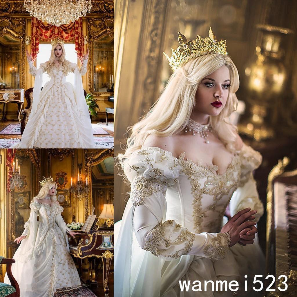 Vintage Medieval Celtic Wedding Dress 2018 Church Gold