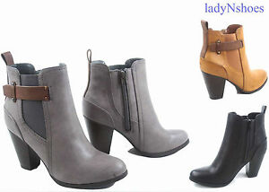 NEW-Women-039-s-Faux-Leather-Dress-Chunky-Heel-Western-Booties-Shoes-size-5-5-11
