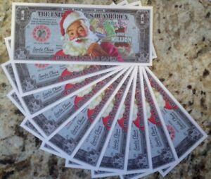 CHRISTMAS-SANTA-CLAUS-MILLION-DOLLAR-LOT-OF-10-NOVELTY-NOTES-USA-QUICK-SHIP