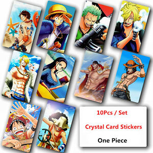 Image Is Loading 10Pcs Set One Piece Crystal Card Stickers Japanese