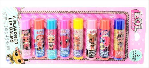 LOL Surprise Set of 8 Flavored Lip Balms Includes 2 Surprise Flavors New