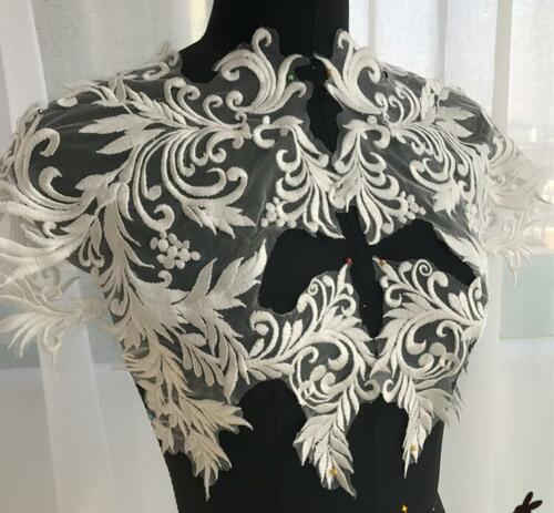 Ivory Floral Callor Bridal Gown Lace Applique Embroidery Patches Trim Collar Wed