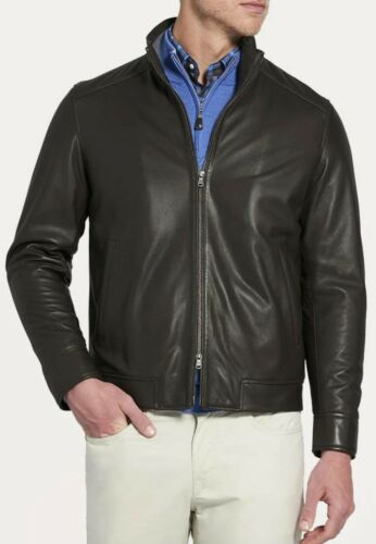 Mens Peter Millar Lambskin Leather Bomber Moto Jac