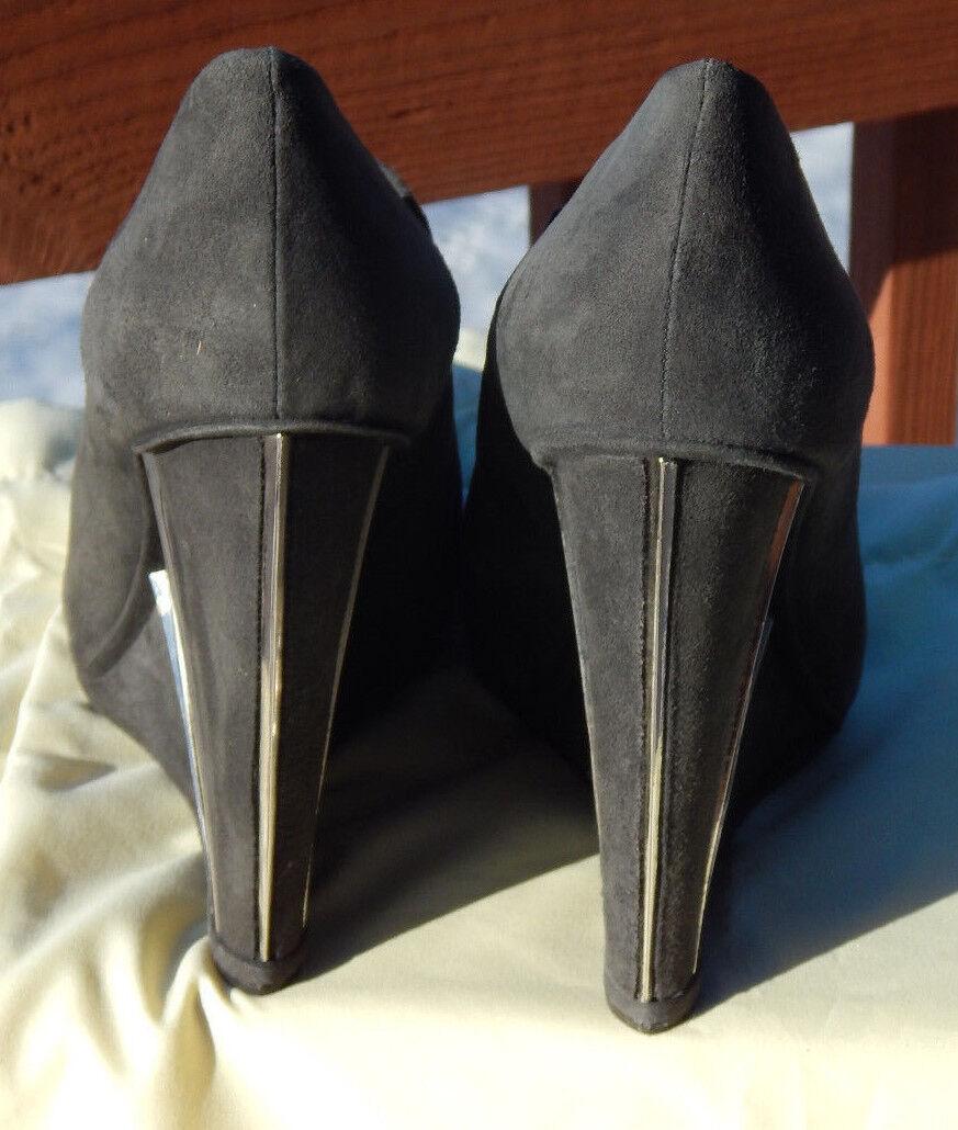 NWB Donna Stuart Weitzman Crop Wedge style Booties, 9M Slate Suede style Wedge MQ32066 0b29ef