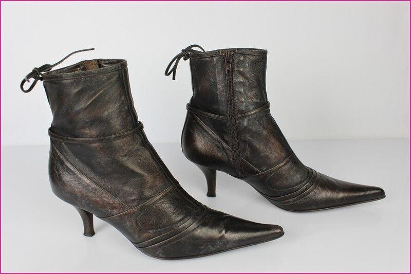 Bottines Boots UN DIMANCHE A VENISE par Kalliste Tout Cuir Bronze T 38,5 TBE