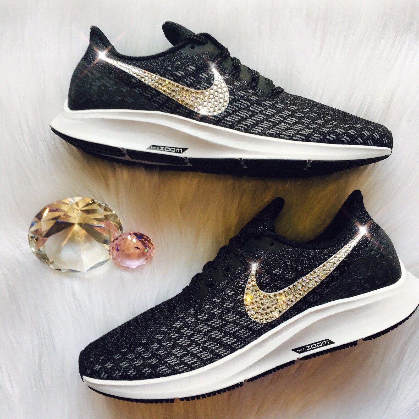Bling Nike Air Zoom Zoom Zoom Pegasus 35 Donna  scarpe w  Swarovski Crystal Swoosh - nero b6c1c9