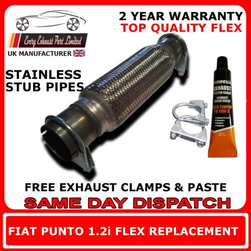 Fiat Punto 1.2i 1999-06 Clamp On Replacement Exhaust Flex Flexi For Center Pipe