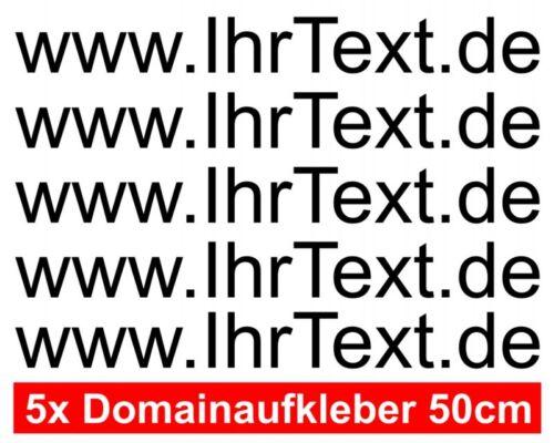 Domainnamen Aufkleber Domain Aufkleber 50cm Autoaufkleber  25 Farben 5x 50cm