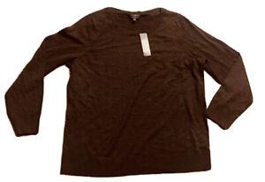 NWT-Talbots-Brown-Pullover-100-Merino-Wool-Sweater-Size-XL-1X