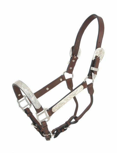 YEARLING Royal King Silber Show Halter Dark Leather Lead w  Chain Small Horse