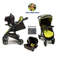 Graco Fast Action Fold Travel System Baby Pram Pushchair Stroller Sport Lime