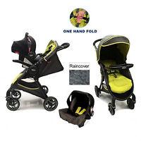 Graco Fast Action Fold Travel System Baby Pram Pushchair Stroller Sport Lime