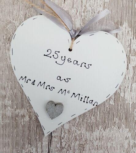25th Argent Anniversaire De Mariage-Cadeau personnalisé fait main en bois cœur