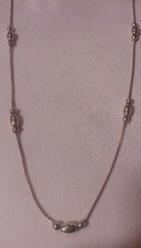 925 Sterling Silver beaded 24 inch snake style nec