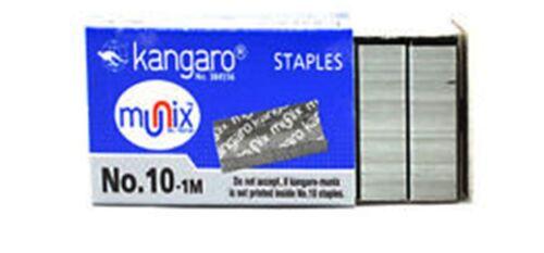 Kangaro Regular Stapler Pins No.10 Set of 20 Boxes Metallic 20x1000 Pins Fr Ship