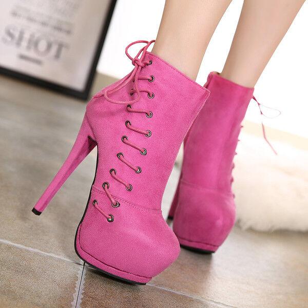 Bottes basses chaussures talons aiguilles rose plateau 14.5 cm comme cuir 9622
