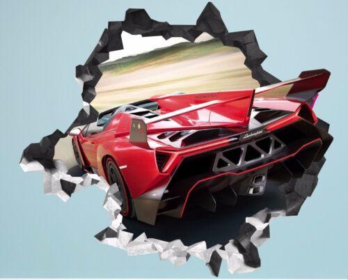 Lamborghini Veneno Roadster Smashed Wall Decal 3D Sticker Decor Vinyl Car AH66