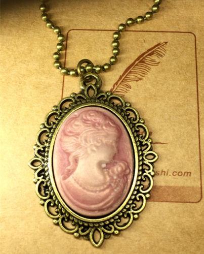 3pcs Mode Rétro Beauté Tête déesse Camée Charme Alliage Lady Collier Rose # /&