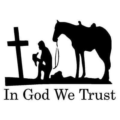 In God We Trust Vinyl Praying Cowboy Truck Decal Car Window Decal Sticker