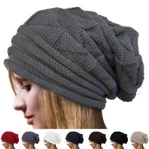 Unisex Men   Women Knit Baggy Beanie Oversize Winter Hat Ski Slouchy ... ed88342376f