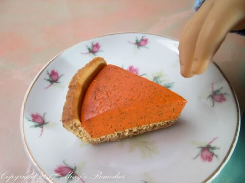 Pumpkin Pie for American Girl Dolls Polymer Clay Food