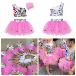 Kids Girls Sequined Ballet Jazz Dance Dress Crop Top Tutu Skirt Outfit Costume