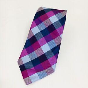 "Mens Express Neck Tie Slim Skinny Narrow Silk Blue Purple Plaid Red  2.5/"""