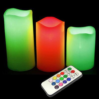"3 pcs Color Remote Control Candles Flameless LED Light Ivory Plastic Set 4""5""6"""