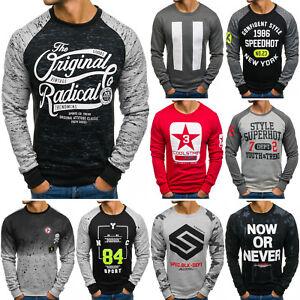 BOLF Herren Sweatshirt Pullover Classic Langarmshirt Pull Aufdruck Mix 1A1 Motiv