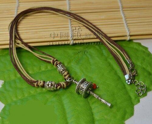 White Copper Turquoise Dangle Om Mani Padme Hum Prayer Wheel Amulet Necklace