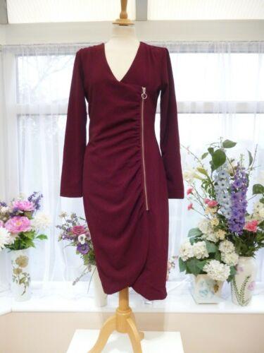Gathered Burgundy Sz sosandar Wiggle Dress Detail 10 Ruched Zip Stunning Sexy YUHwxg7