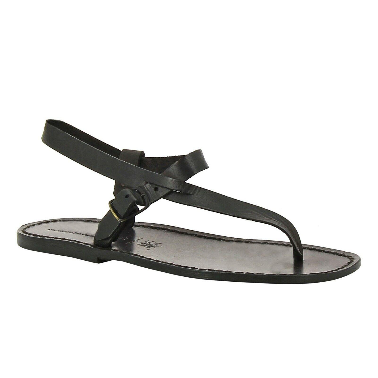 Tanga para hombres hecho a mano correa de tobillo Sandalias En Negro Genuino Cuero Zapatos italianos