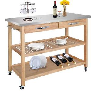Stainless-Top-Wood-Big-Size-Kitchen-Island-Cart-Drawer-Cookware-Storage