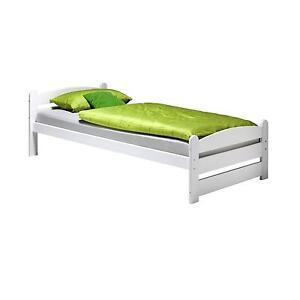 einzelbett bett kieferbett bettgestell 100x200 cm kiefer wei lackiert ebay. Black Bedroom Furniture Sets. Home Design Ideas