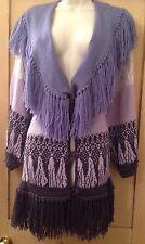 Vintage Púrpura Lila flecos Jersey De Punto Cuello Chal 16 18