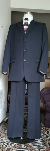 Great Merona Black Pinstrip Men Suit Size 44L