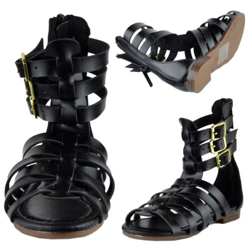 Girls Open Toe Gladiator Sandals w// Strappy Buckle Accent Black Size 9-4