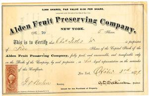 US-1871-Stock-Certificate-Alden-Fruit-Preserving-Co-5-Shares