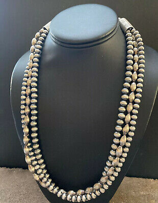 """30/"""" Navajo Pearls Sterling Silver 5mm Beads Necklace"""