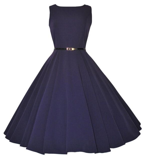 Vintage Retro 40's 50's Audrey Purple Mid Calf Rockabilly Swing Dress New 8 - 20