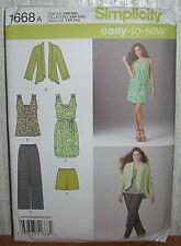 Womens/Miss Dress Top Pants Jacket Sewing Pattern/Simplicity 1668/SZ XXS-XXL/UCN
