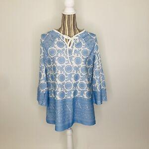 Vintage Mod Blue Bandana Paisley Keyhole Tie Tunic Blouse L/XL Womens 3/4 Sleeve