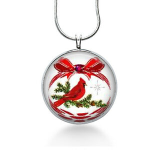 Christmas-Pendant-red-cardinal-bird-red-necklace-fashion-jewelry-silver-necklace