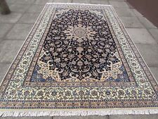 Fine Old Traditional Hand Made Persian Rug Wool Silk Navy Blue Carpet 321x207cm