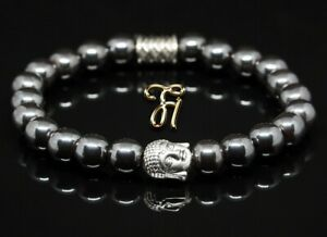 Haematit-Hematit-Armband-Bracelet-Perlenarmband-Buddhakopf-silber-8mm