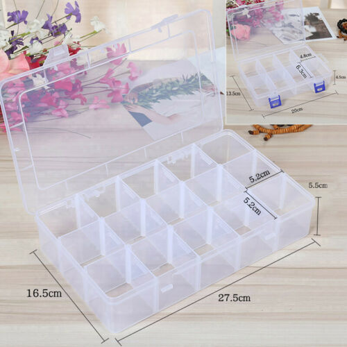 Plastic Storage Box Compartments Container Large capacity Display Transparent