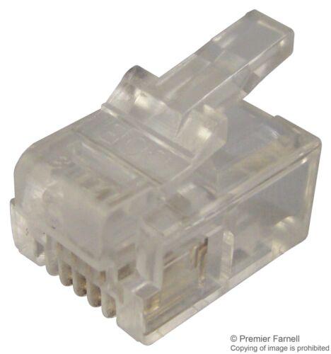 Pack Of 10 PLUG RJ11 ROUNDED 6P4C Connectors Modular MHRJ116P4CR