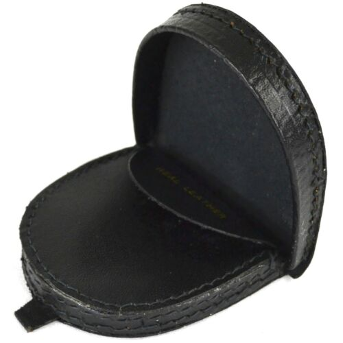 DARK BROWN OR MID BROWN REAL LEATHER SEMI ROUND MONEY TRAY PURSE IN BLACK