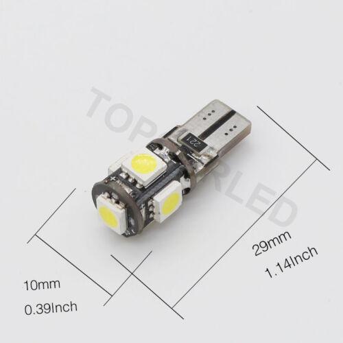 10x T10 5050 5SMD LED Canbus W5W 194 501 Car Light Error Free White Lamp Bulb